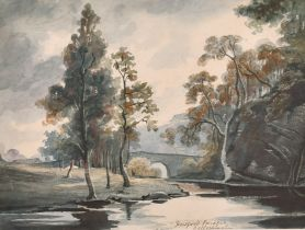 "John S Perry (1780-1820) British. ""Howford Bridge, Bellochinyle"", Watercolour, Inscribed, and"