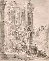 "Circle of Inigo Jones (1573-1652) British. 'Healing of a Blind Man', Ink and Wash, 8.25"" x 6.75"" (21"