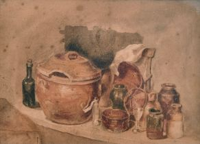 Attributed to Peter de Wint (1784-1849) British. Still Life of Bottles and Jars on a Ledge,
