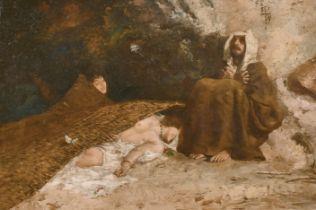 """Attributed to Domenico Morelli (1823-1901) Italian. """"La Tentazione di S. Antonio', Oil on Panel, 12"""""""