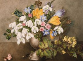 "19th Century English School. Still Life of Flowers in an Urn, Watercolour, 8.5"" x 11.5"" (21.5 x"