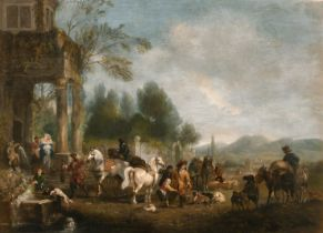 Henry Andrews (1794-1868) British. 'A Hawking Party returning to a Mansion', Oil on Panel, Inscribed