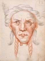 "18th Century French School. Head of a Man, Red Chalk and Pencil, Numbered '32', 5.5"" x 4"" (14 x 10."
