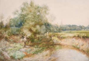 William John Caparne (1856-1940) British. A Tranquil River Landscape with a Boy Fishing and Church