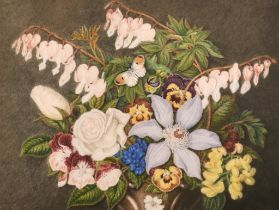 "19th Century English School. Still Life of Summer Flowers with a Butterfly, Watercolour, 9.5"" x 12."