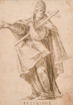 17th Century Italian School. 'Religione', a Study of a Saint, Ink, with a Saint on the reverse, 10.