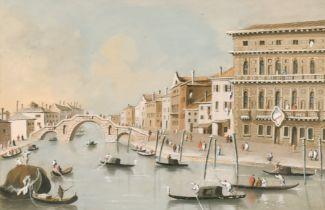 19th Century Italian School. Gondolas on a Venetian Canal, Watercolour, in a gilt composition hollow