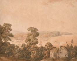 "Late 18th Century English School. A View of Teignmouth, Devon, Watercolour, 15"" x 19.25"" (38 x 48."