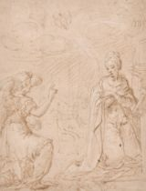 Circle of John Vanderbank (1694-1739) British. The Annunciation, Pen and Ink with white