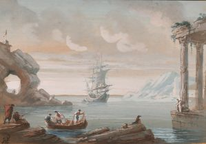 Early 19th Century European School. Figures in a Boat by Classical Ruins with a Ship beyond,
