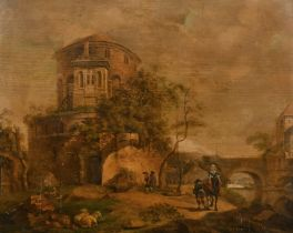 Late 18th Century Dutch School. A River Landscape with Figures on Horseback and Sheep resting in the