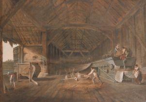 """18th Century French School. Figures Threshing in a Great Barn, Gouache, 25"""" x 35"""" (63.5 x 89cm)"""