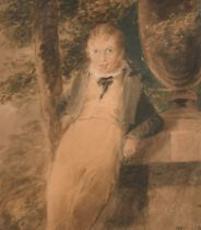"Early 19th Century English School. ""Boy Leaning against an Urn"", Watercolour, Signed with"