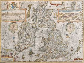 "John Speed (1552-1629) British. ""The Kingdome of Great Britain"", Map, framed showing reverse, 15"""