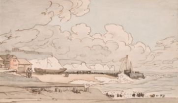 'The Worthing Draughtsman' (fl.1812-1832) British. A Beach Scene, with Figures on the Shore,