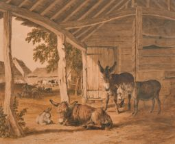 Robert Hills (1769-1844) British. A Farmyard with Donkeys in a Stable, Watercolour, Signed and Dated