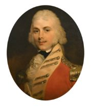 "Early 19th Century English School. Bust Portrait of an Officer, Oil on Canvas, Painted Oval, 23"" x"