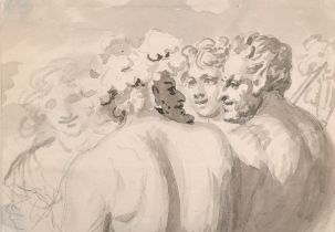 "18th Century French School. Study of Satyrs, Watercolour and Wash, 4"" x 5.75"" (10.2 x 14.6cm) and"