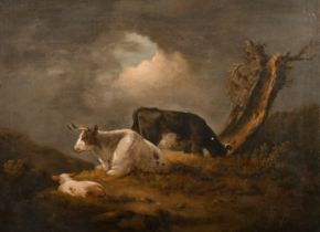 George Morland (1763-1804) British. Cattle in a Landscape, Oil on Canvas, Signed with Initials, in a
