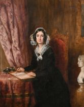 Attributed to Francis Grant (1803-1878) British. 'A Lady of Letters', possibly Mrs Gaskell (a