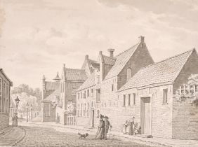 """Late 18th Century English School. A Street Scene with Figures, Ink and Watercolour, Unframed 4.5"""""""