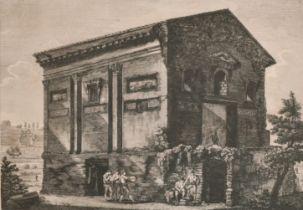 """After Luigi Rossini (1790-1857) Italian. """"Veduta del Tempio delle Camene, da altri del Dio"""