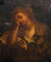 """Circle of Jean-Baptiste Greuze (1725-1805) French. 'Lament', Oil on Canvas, Unframed, 23.5"""" x 19.75"""""""