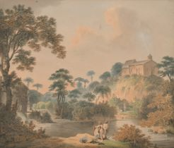 Francis Nicholson (1753-1844) British. A Yorkshire River Landscape, with Figures in the
