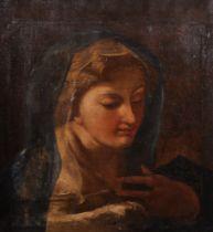 """17th Century Italian School. A Madonna with a Blue Veil, Oil on Canvas, Unframed, 17.5"""" x 16"""" (44."""