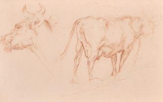 "18th Century French School. Study of Cows, Sanguine, 7.25"" x 11.5"" (18.4 x 29.3cm)"