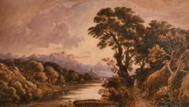 John Varley (1778-1842) British. A Classical Landscape, Watercolour heightened with Bodycolour and