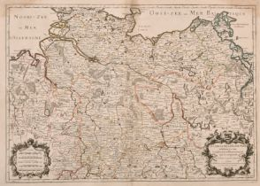 """After Alexis-Hubert Jaillot (1632-1712) French """"Le Cercle de La Basse Saxe"""", Map, 17.5"""" x 25"""" (44."""