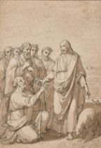 Circle of Tomasso Minardi (1787-1871) Italian. Christ Handing the Key to St Peter, Ink and Pencil,