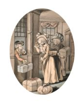 """Robert Dighton (1751-1814) British. """"The Pretended Elopement"""", Pen, Ink and Watercolour, Oval 7.5"""" x"""