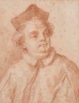 After Carlo Maratti (1625-1713) Italian. Bust Portrait of a Cardinal, Sanguine, Inscribed on