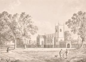 """George Henry Laporte (1799-1873) British. """"A View of the New Church at Northaw Herts"""", Watercolour"""