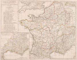 """After Jean Baptiste Bourguignon d'Anville (1697-1782) French. """"Gallia Antiqua ex Aevi Romani"""