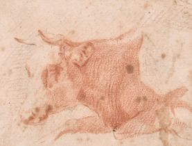 Circle of Paulus Potter (1625-1654) Dutch. Study of a Cow, Sanguine, Inscribed on Mount, In a carved
