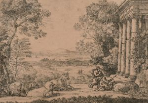 """After Claude Lorrain (1600-1682) French. """"Mercury and Argus"""", Engraving, 6"""" x 8.25"""" (15.2 x 21cm)"""