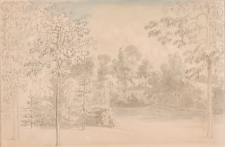 Anthony Devis (1729-1817) British. Study of a Wooded Glade, Pen and Watercolour, Inscribed on a