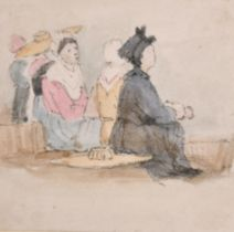 """Samuel Prout (1783-1852) British. Study of Seated Figures, Watercolour, 2.15"""" x 2.2"""" (5.3 x 5.5cm)"""