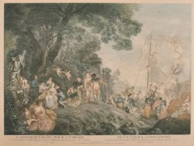 """After Jean-Antoine Watteau (1684-1721) French. """"L'Embarquement Pour Cythere"""", Engraving in"""