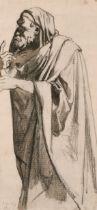 Karl-Ernest-Rodolphe-Heinrich Salem 'Henri' Lehmann (1814-1882) French. Study of a Standing Draped