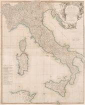 "Richard William Seale (act.1732-1785) British. ""Italy, the Islands of Sicili, Corsica"", Map, 31.5"" x"