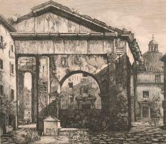 "After Luigi Rossini (1790-1857) Italian. ""Veduta dei Portici d'Ottavia"", Etching, 15"" x 18"" (38.1"