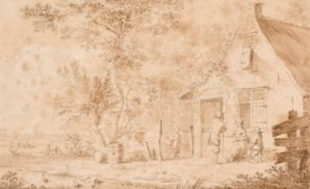 """H. Meyer (18th Century) Dutch. Figures outside a Tavern, Watercolour, Inscribed verso, 3.25"""" x 5.25"""""""