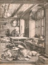 """After Albrecht Durer (1471-1528) German. """"St Jerome in his Study"""", Engraving, 9.5"""" x 7.25"""" (24 x"""