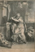 """After Charles Le Brun (1619-1690) French. Magdelene in an Interior, Engraving, 20"""" x 15.5"""" (50.8 x"""