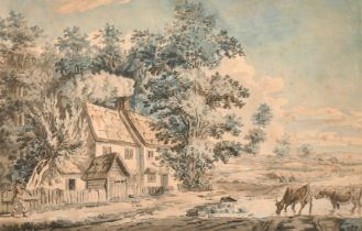 Circle of Paul Sandby (c.1730-1809) British. A Traveller by a Cottage, Watercolour and Ink, after