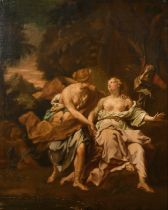 "Manner of Jacopo Amigoni (1682-1752) Italian. 'Diana and Callisto', Oil on Canvas, 31.5"" x 25.25"" ("